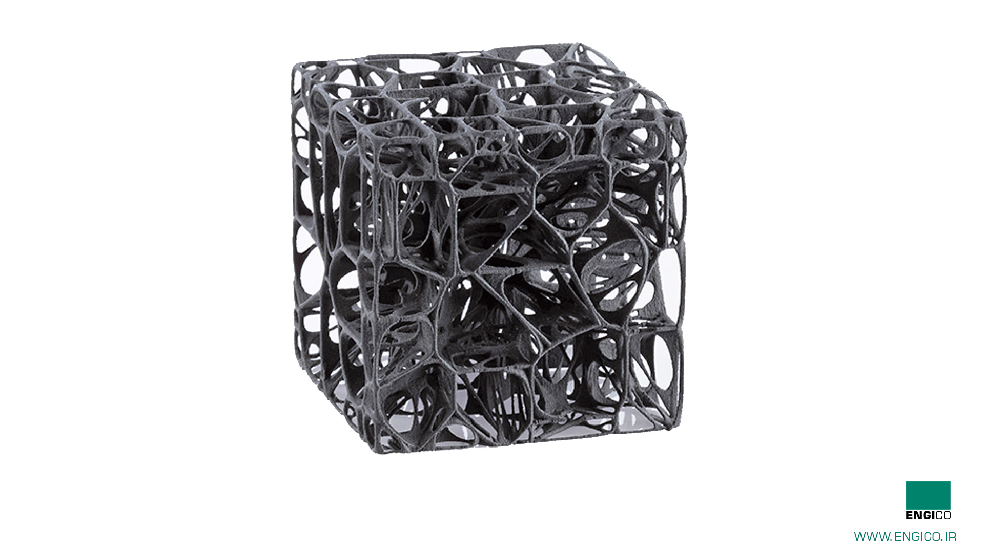 مکعب پیچیده پرینت شده با پرینتر سه بعدی sls